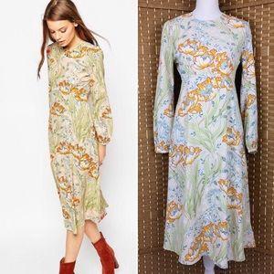 ASOS Column Midi Dress In Floral Print Sz 6 NWT